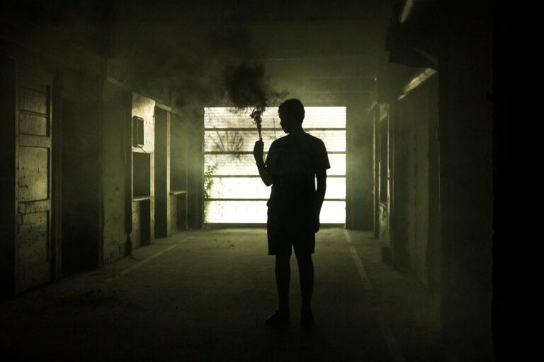 silhouette, man, smoke, black