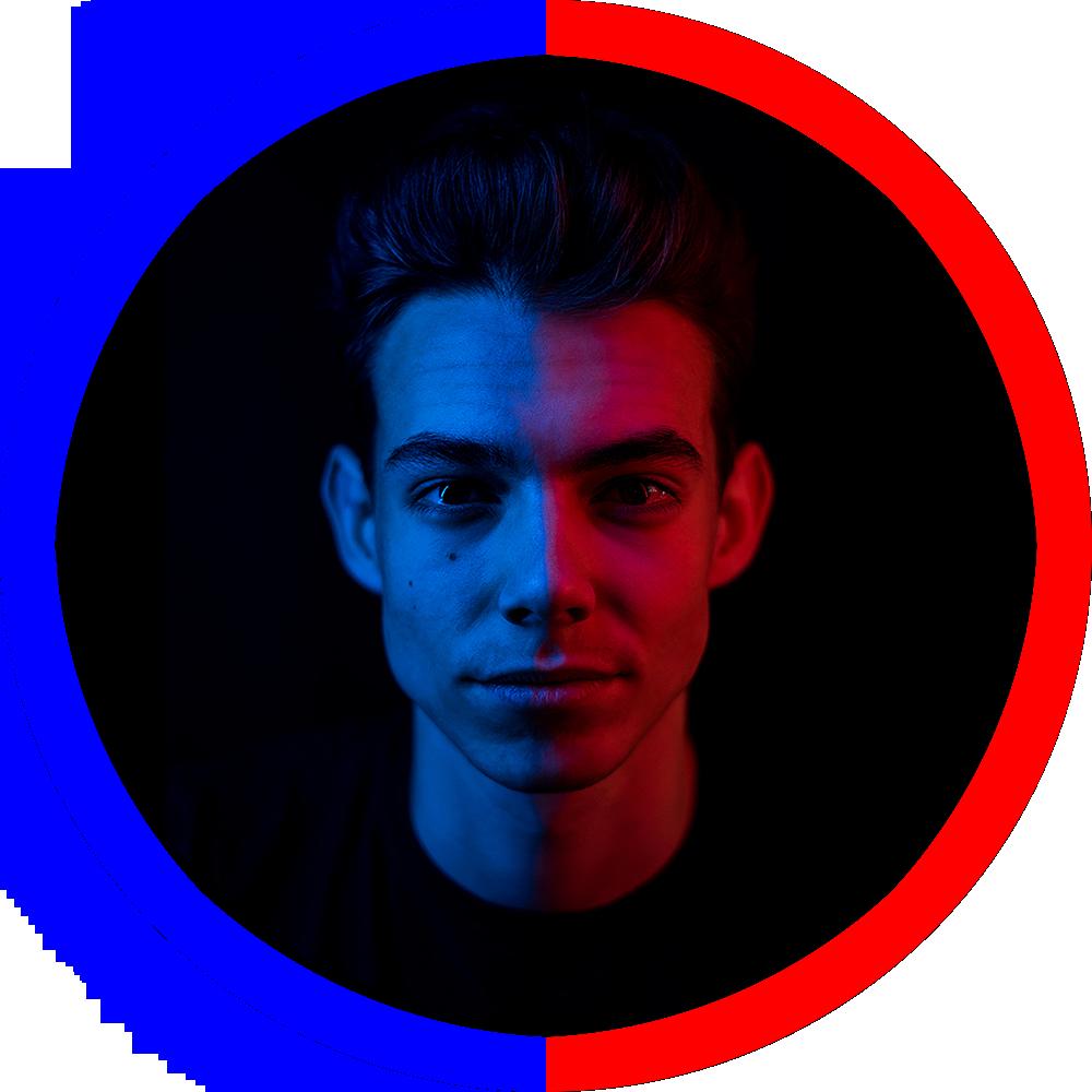 portrait, man, red, blue, TK Arts